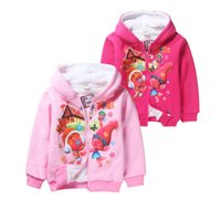 Wholesale Thick Hoodies For Boys - cute thick kids coat hoodie sweatshirt cotton velvet cartoon trolls hoodie for 4-12yrs children boys girls outerwear clothes hot