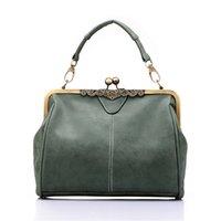 Wholesale Gray Clutch Handbag - Wholesale- Brand new vintage bags retro PU leather tote bag women messenger bags gray green pink blue clutch ladies shoulder bag handbags