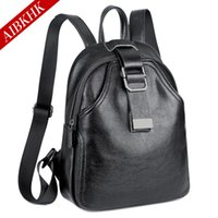 Wholesale Trends Casual Bag - 2017 new fashion high quality leather backpack joker leisure backpack zipper clasp black female bag trend