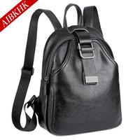 Wholesale Female Joker - 2017 new fashion high quality leather backpack joker leisure backpack zipper clasp black female bag trend
