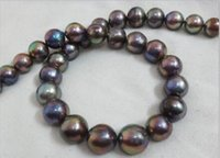 """Wholesale Huge Nuclear Pearls - charming stunning beautiful china Jewelry new HUGE 17.5""""12-15MM SOUTH SEA GENUINE BLACK MULTICOLOR ROUND NUCLEAR PEARL NECKLACE clasp"""