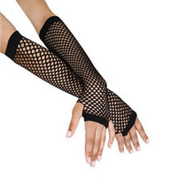 Wholesale Long Punk Gloves - Wholesale- Fashion Long Gloves Punk Goth Lady Dance Costume Lace Fingerless Mesh Fishnet Gloves Women Guantes Mujer