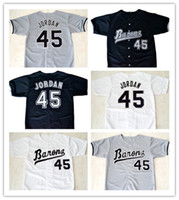 Wholesale Men S Button Down - Michael #45 Birmingham Barons Button Down Baseball Jersey Mens Movie Jerseys All Stitched Embroidery Baseball Jersey