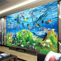 cuarto marino al por mayor-Envío gratis 3D fondo de pantalla personalizado mundo submarino peces marinos habitación de los niños TV telón de fondo del acuario fondo de pantalla mural
