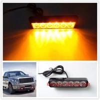 Wholesale Atv Led Strobe Light - Hot selling 18W Strobe Flashing Warning Light 6 LED Warning Beacon Emergency 12V LED Bar Offroad 4x4 ATV Warning Work Light