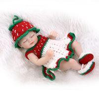 "Wholesale Baby Girl Sweater Months - Wholesale- 10"" Silicone Body Dolls Full Lovely Lifelike Reborn baby dolls newborn Girls Toy Watermelon Sweater Dress"