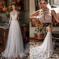 Wholesale Modified Sweetheart - Romantic Modified a line Wedding Dresses 2018 Julie Vino Bridal Sleeveless Illusion Halter Sweetheart Open Back Chapel Train Wedding gown