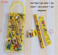 Enfants Crayon Sac Étui Papeterie Étudiant PVC Transparent Sac D'école Enfants Cartoon Pikachu Ruler Pencil Notebooks Aiguiseur Gomme HOT