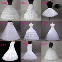 elbiseler için örtüler toptan satış-Ücretsiz Kargo 10 Stilleri Beyaz Bir Çizgi Balll Kıyafeti Mermaid Düğün Parti Elbiseler Underskirts Hoop Hoopless Kabarık Etek Ile Petticoats Fişleri