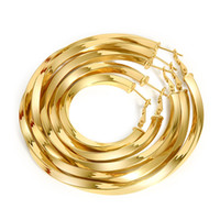 Wholesale Hoop Earrings Gold Twisted - mixed order 5 sizes mixed 4,5,6,7,8cm big hoop earrings 18k gold plated twisted large hoop earrings for women #015Y