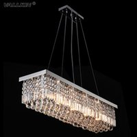 Wholesale Modern Rectangular Pendant Light - VALLKIN® Modern Rectangular Crystal Chandeliers Pendant Light Dining Room Length 100cm LED Ceiling Lamp with 6 Lights AC100 to 240V
