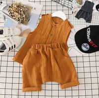 Wholesale Wholesale Linen Pants Sets - Summer Boys Clothes Set 2017 Baby Kids Sleeveless Tops Vest + Harem Pants 2pcs Cotton Linen Children Outfits Clothing Suit 13178