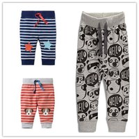 Wholesale Dogs Draw - Baby boy pant Hotsale Casual Trousers Chidren clothing Cartoon Animal Panda Dog Stars Full printed Draw cord 100%cotton 2017 Autumn Spring