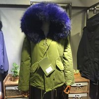 Wholesale Real Fur Trimmed Coats Women - 2017 blue Mr Mrs itlay 100% real rabbit fur lined army green cotton mini parka 4 colours MMF snow winter coats