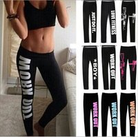 Wholesale plus size workout pants - 100% Cotton Sports Fitness Leggings Women Autumn Fashion Letter printing Mid Waist Elastic Workout Yoga Skinny Pencil Pants Slim Plus Size