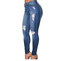 Wholesale Vintage Spandex Pants - Wholesale- Hot Selling 2017 Autumn Adult Women Workout High Waist Jeans Casual Denim Destroyed Skinny Jeans LC78637 Feminino Longo