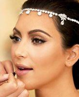 Wholesale Headband Chains - Hot Sale Crystal Women Forehead Headband Head Chain Headpiece Rhinestone Teardrop Tiara Vines Bridal Wedding Hair Jewelry