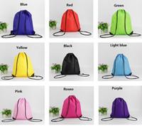 camping glacières achat en gros de-Simple couleur unie sacs imperméables corde cordon cordon épaules sacs de sport sacs à dos de natation sacs livraison gratuite
