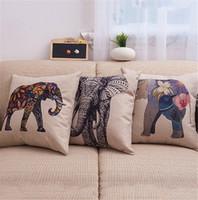 """Wholesale Burlap Pillows Covers - Generic Bright Color Flower Elephant Burlap Pillow Cases Cushion Covers 18"""" x 18"""" Color Elephant Animal Linen Pillow Case"""