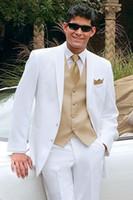 Wholesale Groomsmen Beach Wedding - Wholesale- Golden Vest White Best Men Tuxedos For Summer Beach Wedding Groomsman Suits Masculino Ternos (Jacket +Pants+Vest+Tie)