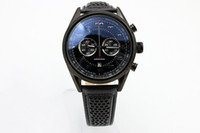 Wholesale men leather band quartz watches resale online - Limited Edition Tag Quartz Watch For Men Chronograph Flyback Stainless Skeleton Leather Band Caliber Watch mens Watches