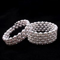 Wholesale Elastic Pearl Ring - Women Pearl Crystal Multilayer Winding Bracelet Fashion Jewelry Elastic Force Shining Bangle Lady Good Gifts DC33