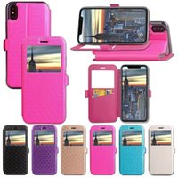Wholesale Iphone Gel Flip - For Iphone X 8 7 7Plus 6 6S Plus Thin Flip Window view Wallet Card stand leather case Tpu Gel cover 50pcs