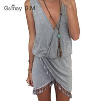 Wholesale Grey Dresses For Women - Wholesale- Casual Sexy Deep V-neck Women Dress Fringe Tassel Summer Dresses for Woman Grey Waist Front Wrap Vestido Boho Beach Dress