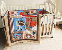 Wholesale boys crib bedding set - American Infant Bedding Set 4 PCS Children Crib Bed Set Sports Baseball 12 Inc Comforter ,Bumer, Coverlet and Skirt
