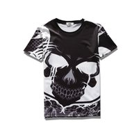 Wholesale Skull Womens Shirts - 2017 sping new summer wear high quality cotton plend novelty tees 3d print big black skull face mens womens tee unisex o-neck t-shirts