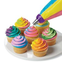 Wholesale New Decorating Colors - Wholesale- New Reusable Silicone Icing Piping Cream Pastry Bag Dessert Decorators Cake Cupcake Decorating Tools 3 Holes 3 Colors S25