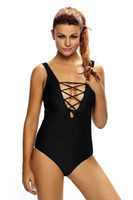 Wholesale Teddy Swimsuits - Cryg Newest Solid Purple Print Lace Up V Neck Teddy Swimwear Women Style Sexy Beachwear Swimsuit on sale 2017 summer
