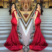 Wholesale red carpet real resale online - Evening Dresses Red Mermaid Off Shoulder Satin Backless Stunning Long Proml Gowns Vestido De Novia