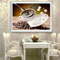 Wholesale Painting Plants - 5D Diamond Painting Without Frame Cross Stitch Black Coffe Of Diamond Embroidery Full Square Dill Diamond Coffe Beans Home Decoration