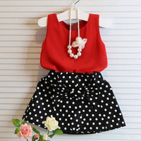 Wholesale Dot Tutu Dress Suits - 2017 Baby Girls Clothes Red T-shirt and Dot Skirt Suit Summer Princess Tutu Sleeveless Bow Dress Kids Cotton Skirt Set Free Shipping