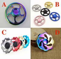 Wholesale Fire Fingers - Colorful Flywheel Hand Spinner Aluminum alloy Fire Wheel Fidget Spinner Wheel Hand Spinner Metal Finger Gyro Spinning Top Decompression Toys