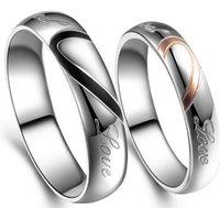 Wholesale Puzzle Rings - B52 Hot style New Fashion Jewelry Korean 316L Titanium Steel Heart Love Puzzle Couple Ring for men women