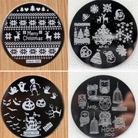 Wholesale Halloween Nail Art Stamps - Wholesale- 4pcs Christmas Halloween Owl 4 Design Stainless Steel Nail Plates Nail Art Image Konad Print Stamp Stamping Manicure Template