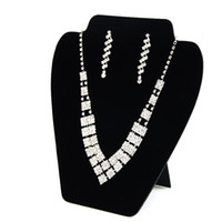 Wholesale Display Cards For Necklaces - Big Necklace Earring Set Display Card Stand Black Velvet Elegant Space Saving Jewelry Displays for Shop Shelf Boutique 3 Pieces Lot