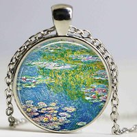 Wholesale Lily Paintings Art - Monet's Water Lily Pond Art Pendant Great Painting Glass Cabochon Necklace Women Jewelry French Impressionism Monet Retro Chain