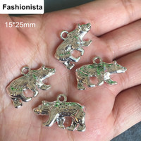 Wholesale 50 Alloy White Bear Charms Pendant mm Double Sided and D Mini Cute Sea Bear For Jewelry Making