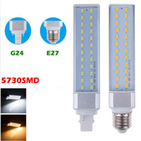 lámpara led horizontal al por mayor-5730SMD LED bombilla de maíz E27 G24 G23 luces de Enchufe Horizontal llevó la lámpara 180 grados 5W 7 W 9 W 12 W 15 W 25 W de iluminación LED AC 85-265V