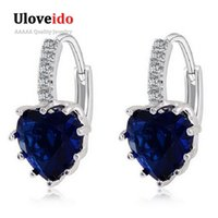 Wholesale hanging copper earrings online - Platinum Plated Hanging Crystal Long Fashion Dropping Blue Heart Zircon Earrings Women Rhinestone Brinco BME131