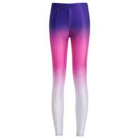 Wholesale m shade - 2017 NEW 3716 Colorful Rainbow shade Color 3D Prints Sexy Girl Pencil Yoga Pants GYM Fitness Workout Polyester Women Leggings Plus Size
