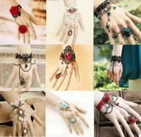 Wholesale Elegant Wrist Rings - Elegant Womens Christmas Ball Flower Lace Bracelet Ring Wrist Cuffs Bangle At Bridal Bridesmaid Jewelry