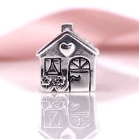 Wholesale Sterling Silver Home Sweet Home European Charms Beads Fit Snake Chain Bracelet DIY Fashion Jewelry