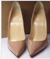 Talons Nude Femme Paris 80mm / 100mm / 120mm Escarpins Patent Slo Escarpins Decoltish Pointy Toe Bottom Sandales rouges