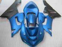 zx6r plásticos azul venda por atacado-Carenagens de plástico ABS de alta qualidade para Kawasaki Ninja ZX6R 2005 2006 azul preto carenagem conjunto ZX6R 05 06 OT41