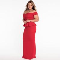Wholesale Peplum Xxl - New 2107 Women 3 Colors Sexy Peplum Dress with Off Shoulder Plus Size M-XXL Party Dress Vestidos