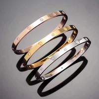 18 k platos de oro al por mayor-Caliente modelo de acero inoxidable plata amor pulsera 5 mm titanio pulsera de uñas 18 K chapado en oro pulseras brazaletes para mujeres